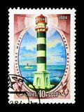 Faro de Marekan, mar de Ojotsk, serie, circa 1984 Foto de archivo