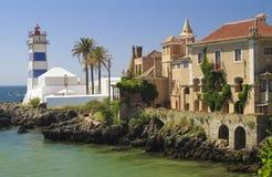 Faro de Martha del santo en Cascais Portugal Imagenes de archivo