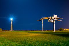 Faro de Morro Jable y estatua de la ballena de esperma Fotos de archivo
