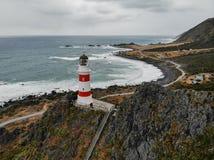 Faro de Palliser del cabo, Nueva Zelanda foto de archivo