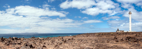 Faro de pechiguera landscape. Panorama of faro de pechiguera overlooking fuerteventura, playa blanca, lanzarote, canary islands Stock Images