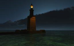Faro de Pharos en la oscuridad ilustración del vector
