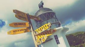 Faro de Reinga del cabo Imagen de archivo libre de regalías