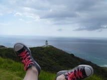 Faro de Reinga del cabo, Nueva Zelandia Fotografía de archivo