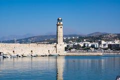 Faro de Rethymno, isla de Creta, Grecia fotografía de archivo