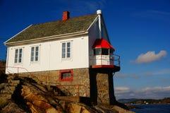 Faro de Stromtangen en Kragero, Noruega Imágenes de archivo libres de regalías