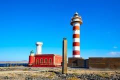 Faro de Toston en el EL Cotillo en Fuerteventura Fotografía de archivo
