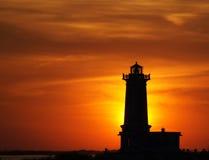 Faro del albino de la punta en la puesta del sol Fotos de archivo