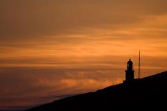 Faro del amanecer de Matxitxako del final Imagen de archivo