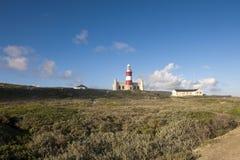 Faro del cabo Agulhas, Suráfrica. Fotografía de archivo libre de regalías