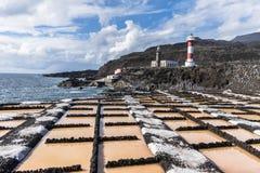 Faro del de Fuencaliente de la Palma delle saline fotografia stock libera da diritti