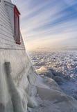 Faro del lago Huron nell'inverno Fotografia Stock