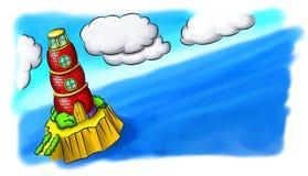 Faro del mattone rosso in mare Immagini Stock Libere da Diritti