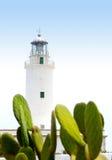 Faro del Mola della La a formentera con il cactus del nopal Immagini Stock
