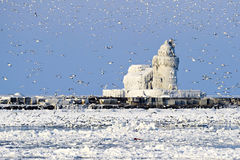 Faro del oeste de Pierhead del puerto de Cleveland Foto de archivo