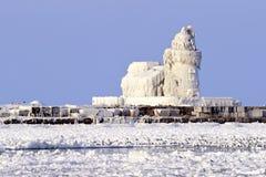 Faro del oeste de Pierhead del puerto de Cleveland Imágenes de archivo libres de regalías