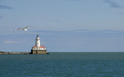Faro del porto del Chicago Immagini Stock