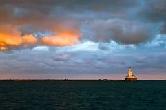 Faro del porto del Chicago Fotografia Stock