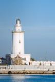 Faro del porto di Malaga Fotografia Stock Libera da Diritti