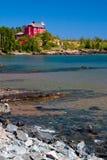 Faro del porto di Marquette Fotografia Stock