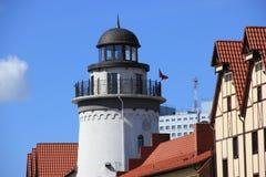 Faro del pueblo pesquero, Kaliningrado foto de archivo libre de regalías