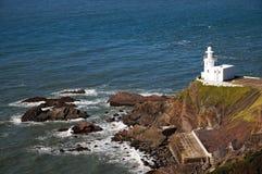 Faro del punto de Hartland, Devon del norte fotografía de archivo
