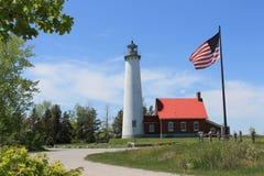 Faro del punto de Tawas, Michigan A lo largo del lago Hurón Fotografía de archivo