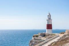 Faro del punto del Europa en Gibraltar Imagen de archivo