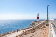 Faro del punto del Europa en Gibraltar Fotos de archivo