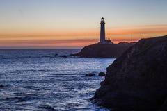 Faro del punto del piccione nel tramonto Fotografie Stock Libere da Diritti