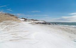Faro del punto di Nobska in neve Immagine Stock