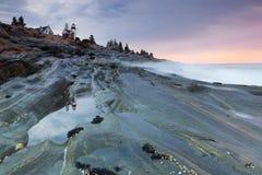 Faro del punto di Pemaquid, Maine, S.U.A. Fotografie Stock