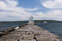Faro del rompeolas de Rockland Imagen de archivo libre de regalías