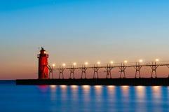 Faro del sud del porto. Fotografia Stock