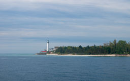 Faro del sur de la isla de Manitou Fotografía de archivo