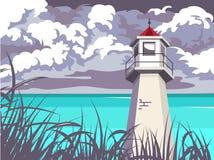 Faro del verano Paisaje marino ilustración del vector