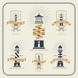 Faro del vintage y sistema de etiquetas náuticos de la cinta libre illustration