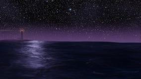 Faro dell'oceano e ciclo infinito delle stelle illustrazione vettoriale