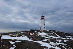 Faro della baia del ` s di Peggy ad orario invernale fotografia stock libera da diritti