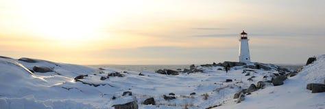 Faro della baia della Peggy in inverno Fotografia Stock Libera da Diritti