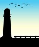 Faro della siluetta Fotografia Stock Libera da Diritti