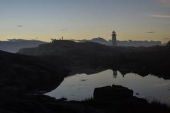 Faro della spiaggia dell'orizzonte Fotografie Stock Libere da Diritti