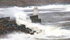 Faro dello stoppino un giorno tempestoso Fotografia Stock