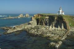 Faro di Arago del capo, litorale dell'Oregon Immagini Stock Libere da Diritti