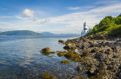 Faro di Cloch alla costa del punto di Cloch - Inverclyde in Scozia Immagini Stock Libere da Diritti