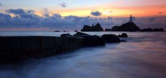 Faro di Corbiere in Jersey Fotografie Stock Libere da Diritti
