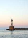 Faro di Hania al crepuscolo Fotografia Stock Libera da Diritti