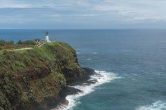 Faro di Kilauea alla riserva nazionale del punto di Kilauea su Kauai, Hawai fotografie stock libere da diritti