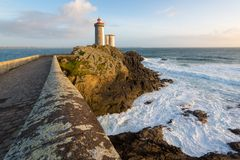 Faro di Le Petit Minou, la Bretagna, Francia Fotografie Stock