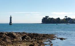 Faro di Loctudy nella costa di Finistere Fotografia Stock